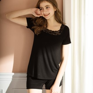 No rims pajamas 2nd generation no-boss girl plain lace Modal cotton two-piece home service - warm black