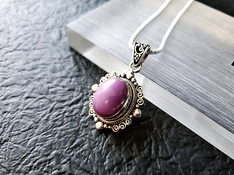 Xing Er-Natural Purple Mica Palace Style Design Sterling Silver Pendant