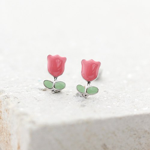 Tulip Earrings in 925 Sterling Silver, White Gold plating - Pink
