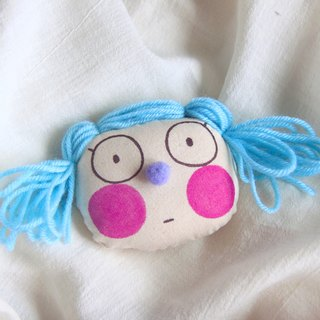 Original powder blue hair style hand-drawn brooch