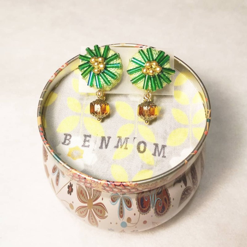 Little Jasmine Small Hundred Day Hand Embroidered Earrings