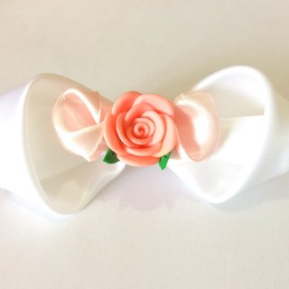 Kanzashi ribbon fimo clay flower bow hair clip pink white hair accessories(つまみ細工)