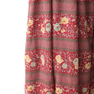 【RE1004D1403】 early autumn Japanese retro wine red flowers short-sleeved ancient dress