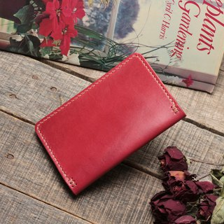 Rustic classical red dip dyed yak leather handmade passport holder / limited edition 1 piece