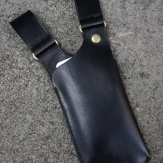 Western-black vegetable tanned leather phone case/bag (customizable left-handed version)