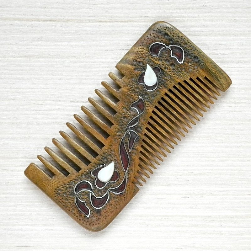 Sandalwood hair comb with mother of pearl inlay