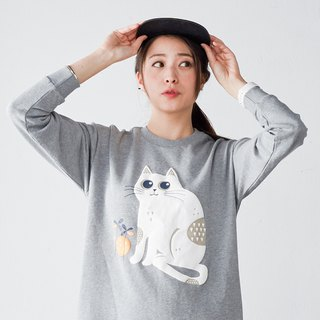 Hanada 喵 cotton terry sweater home dress autumn and winter thickening sets of long-sleeved cat print pajamas