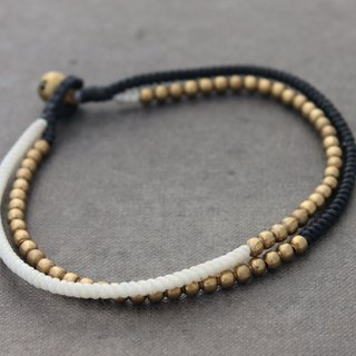 Beaded Woven Anklets Multi Strand Brass Brass Cuff In Black And White