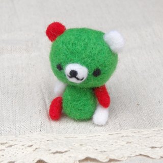 Christmas Teddy Bear- Wool felt  (key ring or Decoration)