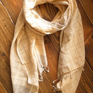 【Grooving the beats】[ Fair Trade] Organic Cotton, Hand woven, Natual Dye Shawl / Scarf(Plaid_Light Yellow+ Light Brown))