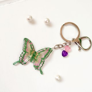 * Haku‧Neko * Green Heart pattern Swallowtail Hand-painted Butterfly Keychain