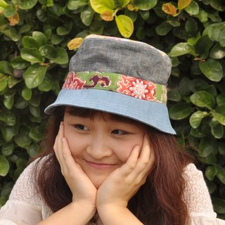 Hat - green flowers and gray linen subsection (denim, cotton, linen, Boximiya, gray)