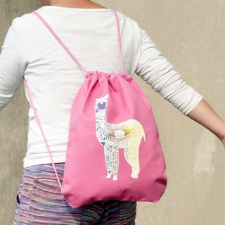 Great feel after national wind beam port backpack / shoulder bag / portable package / bag beam port - Alpaca Grass Mud Horse (pink)