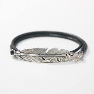 ITS-903 [Minimalist series, brighter sky] feather jewelry / wax rope neutral bracelet 1.