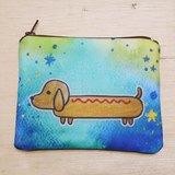 {可客製化手寫名字}手繪渲染水彩風格圖案 黃色 奶油色 臘腸狗 鑰匙包 零錢包 卡片包
