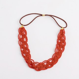 beads headband matte red wide