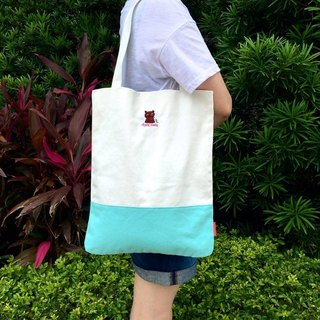 The.Playing.Forest-Chief Embroidery Canvas Tote / White,Turquoise
