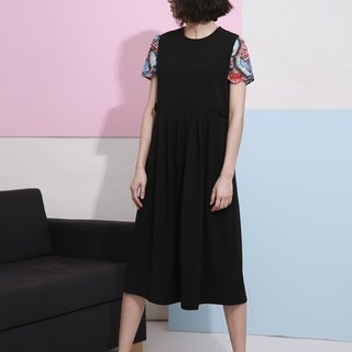 Drain wood day komorebi original design spring and summer theatrical dress pleated dress in H-type