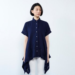 WD Maren Shirt - Indigo umbrella short-sleeved blouse