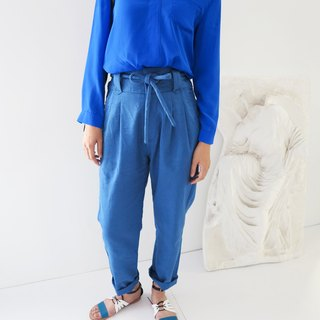 Matisse blue linen trousers strap folds