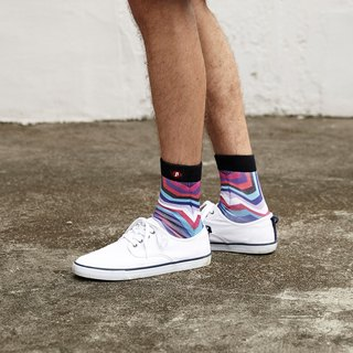 Hong Kong Design | Fool's Day Printed Socks -Pink Wave 00044