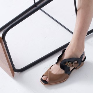 ZOODY / bubble / handmade shoes / flat hollow sandals / coffee black
