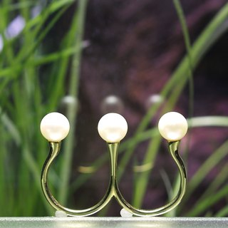 "Japan Quality | Double Finger NUDE Ring ""Garden Eel"" Brass × Pearl"