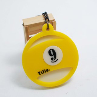 9-ball keychain custom / Billiards / engraved name [school name] + back number / anniversary / graduation gift
