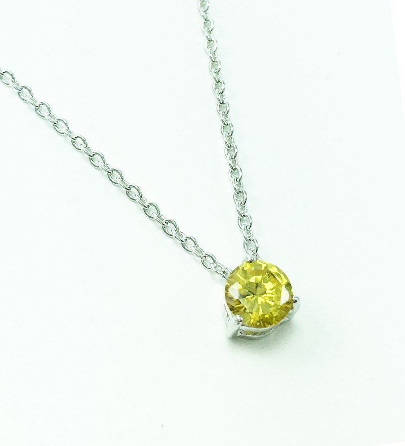 ★ ★ November birthstone citrine CITRINE│925 silver plated white K necklace │ constellation birthday gift