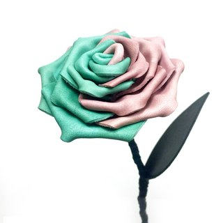 """Contradiction"" series Leather Rose - Pink / light green"
