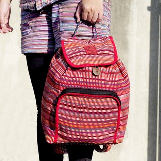 A limited edition hand-woven natural rainbow colorful canvas bag / backpack / backpacks / shoulder bag / bag - Natural feel positive red colors