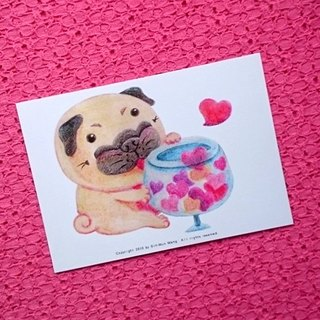 Pug postcard - Love for you.