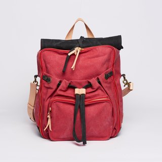 Waxed Canvas Backpack / Urban Jungle Backpack / L / Red