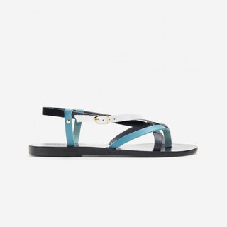 {Love From Cyprus showpiece clearing} Mediterranean handmade leather sandals (black and blue) spot 38, 39 (with a solid diagram)
