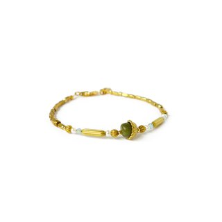 Ficelle | Handmade Brass Natural Stone Bracelet | [Olivine] Injured Soul