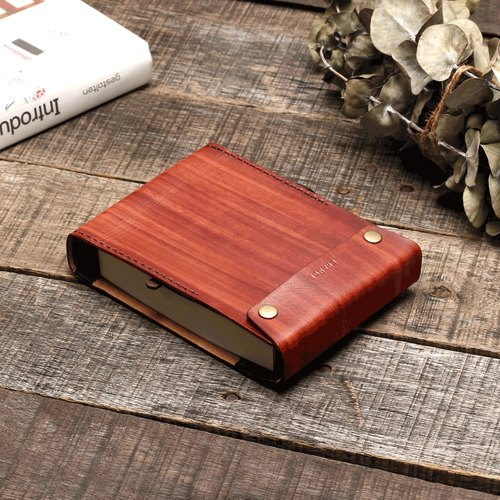 Bluecat - Coffee Red (Wood Brush) Dyed Leather Dyed Leather Handmade Hand Strap Notebook