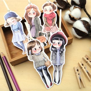 Winter Girls Illustrated Watercolor Bookmark - Planner Bookmark, 5 Designs