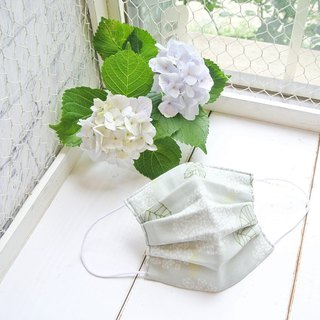 Natural cotton handmade mask Hydrangea Lightgreen | Sensitive skin friendly
