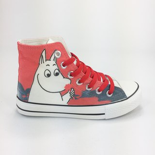Moomin Authoritative License - Canvas Shoes (White Shoes Red Belt) -AE01