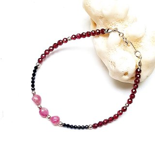 <Pet Love Series-True Love> Black Spinal Crystal Garnet Red Tourmaline 925 Sterling Silver Bracelet Customization