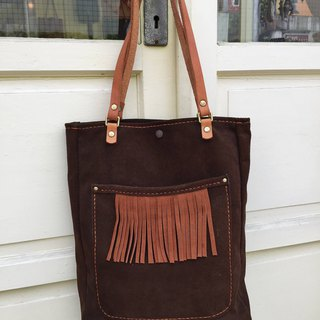 Nora Indian Tassel Suede Shoulder Tote Bag