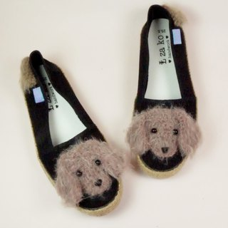 Black cotton hand made canvas shoes long hair dachshund models have a woven section