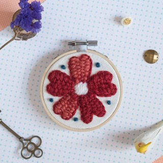 Handmade Wool Flower Embroidery Hoop - The red flower