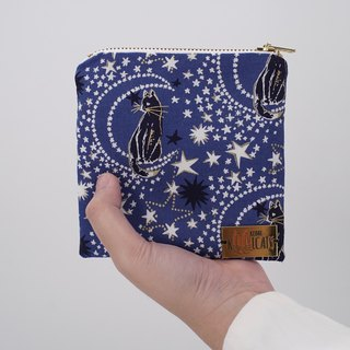 Square Zipper Pouch in Cats and Stars on Blue