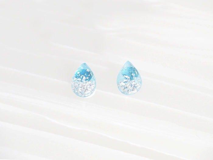 藍色 透明 黑膠唱片 925 純銀 耳環 耳釘 // 水滴 眼淚