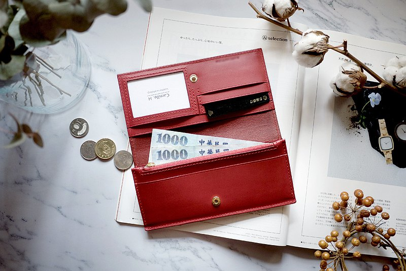 Red simple long clip 9 card cowhide long clip leather wallet European cowhide wallet hand made leather bag custom