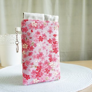 Lovely pink purple cherry phone bag, pencil case, glasses bag, mobile phone bag, 5.5 吋 mobile phone available E