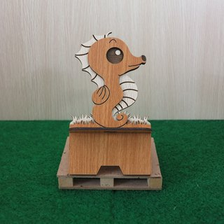 Taiwan stack [custom - color pattern lettering can be replaced] wood mobile phone holder - hippocampus mobile phone holder / decorations / business card holder / gift / gifts / mobile phone accessories / stationery