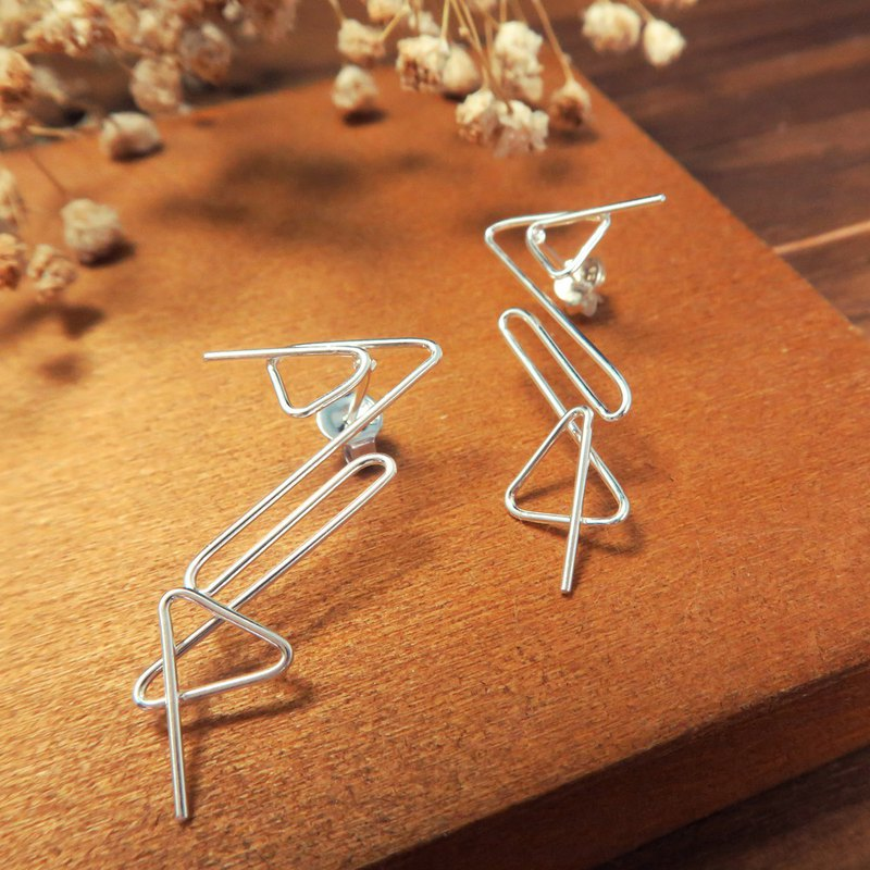 Paper clip geometric silhouette B 925 sterling silver earrings