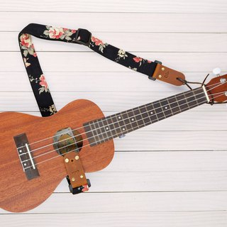 Black Fabric Flower Ukulele Strap 3in1